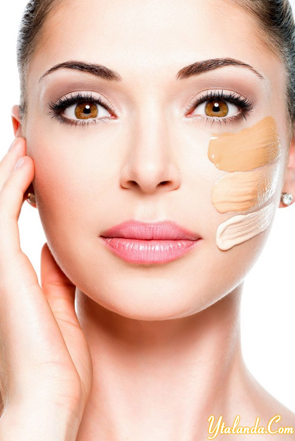 cosmetic foundation on a skin.